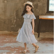 Children's wear girl dress summer new word shoulder lotus leaf collar children skirt princess dress