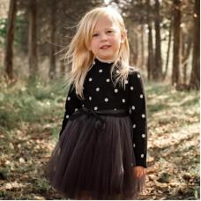 Children's clothing children's skirt girls dot long-sleeved sweater dress children's knitted mesh skirt puffy long skirt