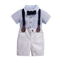 Boys short sleeve gentleman bow tie strap two piece suit